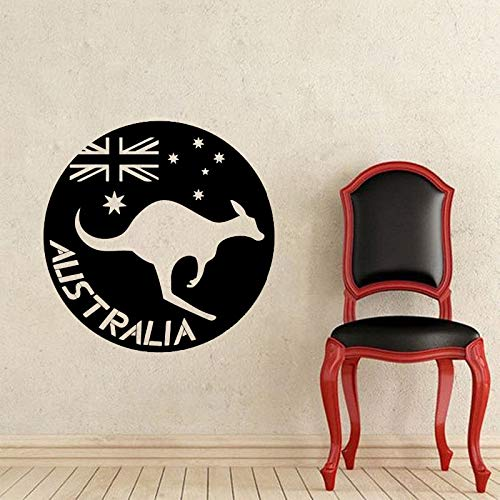zzlfn3lv Australien Flagge Wandaufkleber Känguru Tier Wandtattoo Vinyl Kinderzimmer Dekoration Innen Abnehmbare Art DIY 57 * 57 cm
