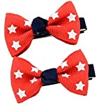 #10: Angel Closet Star Print Bow Hair Clips for Girls - Red