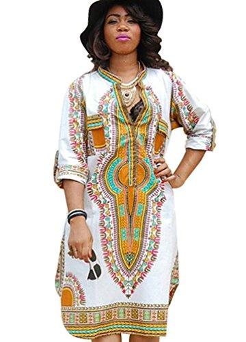 Yuncai Damen Hohe Elastizität Traditionelle Afrikanische Gedruckt Tief V-Ausschnitt Dashiki Kleid