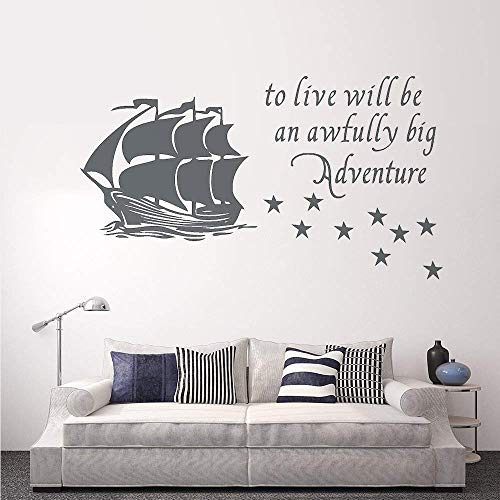 wandaufkleber 3d küche Wall Decal Decor Peter Pan Wall Decal Quote To Live Will Be An Awfully Big Adventure - Vinyl Sticker Pirate Ship Stars Kids Baby Boy Nursery Decor
