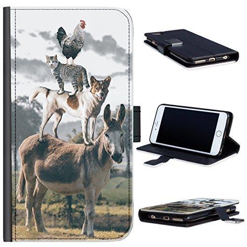 Hairyworm - BG0209 Huhn Katze und Hund oben auf Esel HTC One M7 Leder Klapphülle Etui Handy Tasche, Deckel mit Kartenfächern, Geldscheinfach und Magnetverschluss. HTC 1 M7 Fall Handy-fall, Htc M7