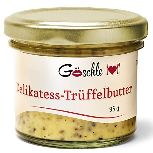Die Trüffelmanufaktur - Feinkost Trüffelbutter mit 15{0f0e7a32d8c4edbbd2a2c5949b5627099c98a07f12c55b1daaa24d4305cbf97a} echtem frischen schwarzem Trüffel, die Delikatesse für Feinschmecker, weiße Trueffel-Butter im Glas á 95 g - hergestellt in Deutschland