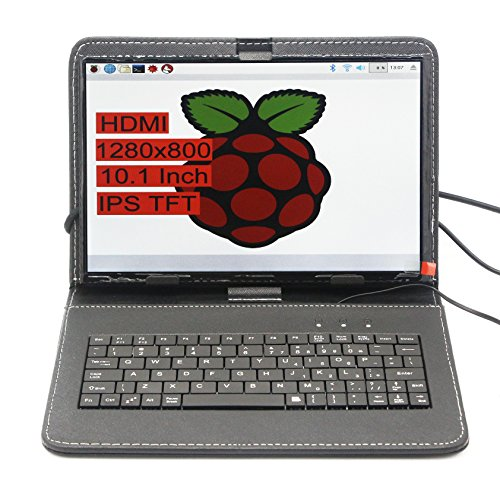 SUNKEE 10.1 Zoll 1280x800 TFT IPS Große Winkel-Sichtbarkeit und Hohe Auflösung LCD Monitor Für Raspberry Pi 3 B+ (B Plus) + HDMI Eingang Mit Raspberry Pi USB Ledertasche Tastatur Wifi Adapter (Kein Raspberry Pi + Keine Maus) (Hohe Sichtbarkeit-fall)