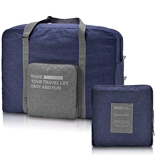 WANDF Foldable Travel Duffel Bag Faltbare Reisetasche Gepäck Sport Fitnessstudio Wasserresistent(nicht wasserdicht, sondern wasserresistent, abstoßender Stoff) Nylon,Blau (Travel Lightweight Bag Tote)