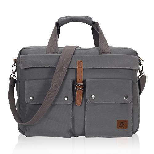 Hynes Eagle 43,2 cm Weiches Leinwand Laptop Messenger Bag Carry On Computer Reisetasche grau Gray VG Einheitsgröße -