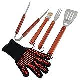 Set di utensili per grigliate BBQ ChasBete set di utensili in acciaio da 5 pezzi guanto per griglia Set di utensili per grigliate e barbecue - spatola,pinze,forchetta,pennello per imbastire e guanto