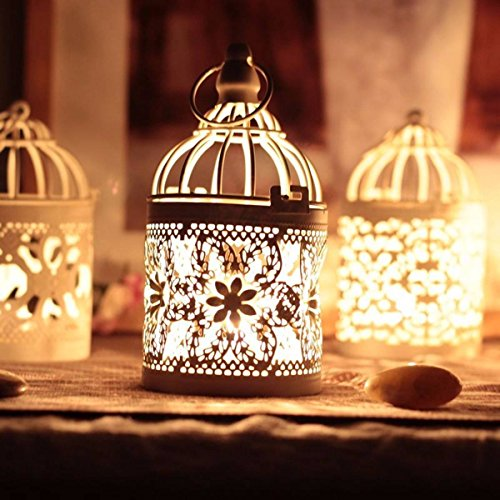 KING DO WAY Rétro Cage Support Porte Bougie Bougeoir Métal Décor Maison Cadeau Candle Holder