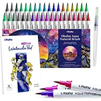 Ohuhu Watercolour Brush Marker Pens Set 36 Colours with 12-Sheet Watercolor Pad & A Blending Aqua Brush, Water-Based Paint Markers with Flexible Nylon Brush Tips for Coloring, Calligraphy, Drawing