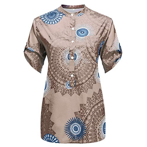 B-COMMERCE Damen Vintage Print Button lose Mode Bluse Tops, Sommer Sexy V-Ausschnitt Kurzarm Freizeithemd Tunika Large Size - Flare Knit Kleid
