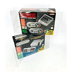 2x Schutzhülle für Nintendo NES MINI und SNES MINI Classic Originalverpackung Box PET Protector 0,5 mm STÄRKE Passgenau & Glasklar