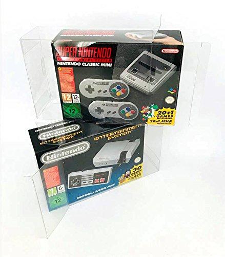 Funda de protección 2x para Nintendo NES MINI y SNES MINI Classic Caja de embalaje original Protector de PET 0,5 mm Ajuste perfecto y transparente