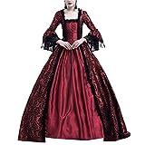GladiolusA Robe Médiévale Dentelle Déguisement Femme Renaissance Costume Robes Longues Vin Rouge 2XL