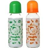 Premium Glass Feeding Bottle With Premium LSR Nipple- GREEN-240ML+ORANGE-240ML