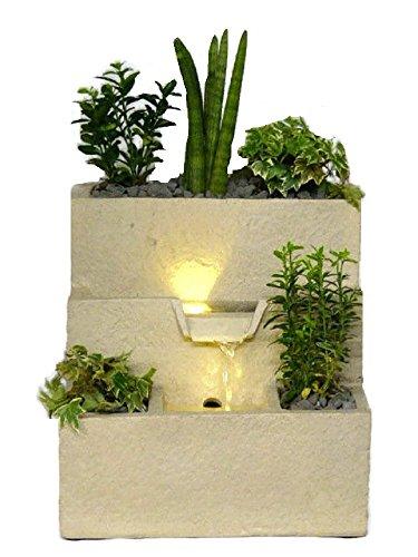 Zimmerbrunnen mit integriertem Pflanzgefäß Botanica Bassina 31 cm LED Warmweiß Beleuchtung Zimmerbrunnen Mit Pflanze