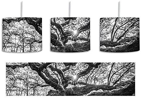 gigantisch verwzeigter Baum Kunst B&W inkl. Lampenfassung E27, Lampe mit Motivdruck, tolle Deckenlampe, Hängelampe, Pendelleuchte - Durchmesser 30cm - Dekoration mit Licht ideal für Wohnzimmer, Kinderzimmer, Schlafzimmer