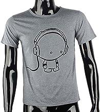 Tefamore Camiseta Hombre de manga corta de impresión de auriculares de la camiseta de ropa de moda de algodón Chico