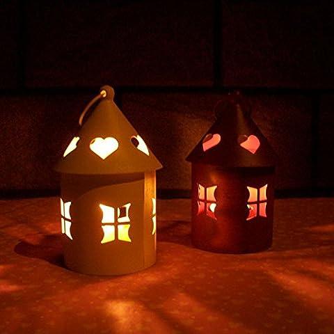 MMMM-Casa de estilo retro candelabro de hierro forjado y decoración Linterna creativa 2, blanco