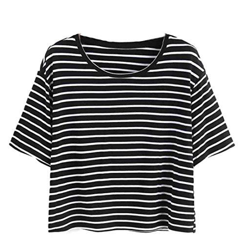 TUDUZ Schöne Oberteil Damen Sommer Elegant Kurzarm Schwarz und Weiß Gestreifte T-Shirt Tank Crop Tops Weste Bluse