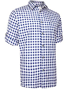 Trachtenhemd Watzmann Kariert - Schöneberger Trachten Hemd Oktoberfest & Freizeit Blockkaros Rot Oder Blau