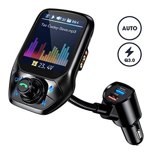 """Bluetooth FM Transmitter, OMORC Intelligente Suche Bluetooth Transmitter, 1.8\"""" Farbbildschirm Kfz Radio Adapter, Auto Mikrofon Freisprecheinrichtung mit QC 3.0/3 USB Ports/U Disk/Aux"""