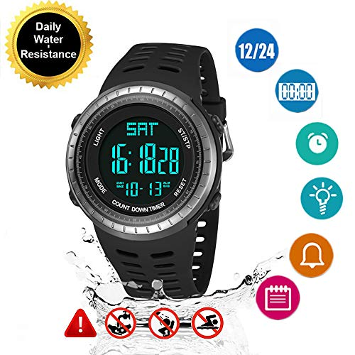Imagen de reloj de pulsera digital deportivo hombre para actividades al aire libre, led luz de fondo relojes electrónicos resistente al agua , cronógrafo alternativa