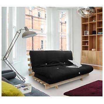 Shopisfy Triple Bed Futon With Slatted Base And Mattress   3 Seater    Black: Amazon.co.uk: Kitchen U0026 Home