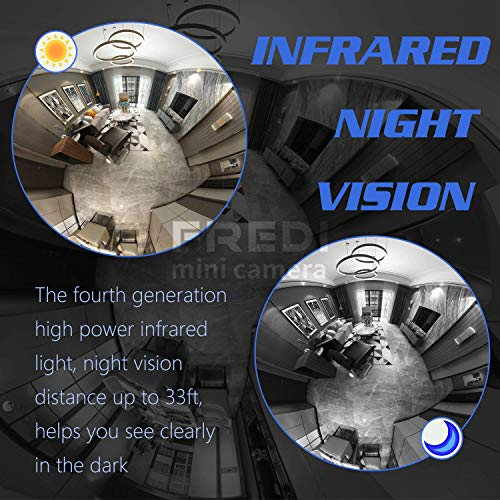 FREDI HD WLAN IP Kamera 360° Sicherheitskamera IP Cam Fischaugenobjektiv Überwachungskamera WLAN Kamera Panorama Videoüberwachung mit IR Nachtsicht/Bewegungsmelder Indoor