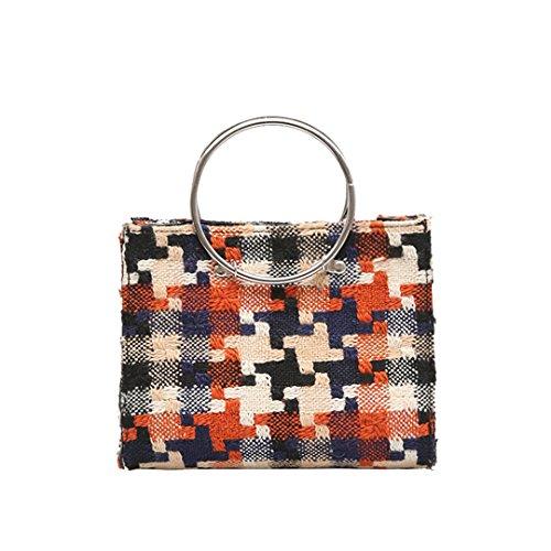JOTHIN Handtasche Leder Kette Schultertasche Vintag Crossbody Bags Fit für iPad Orange