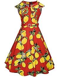 Mena UK Mujeres de la vendimia sin mangas U-cuello Departamento de plomo Impresión Limón