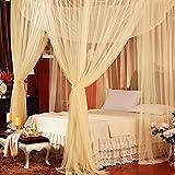 Jeteven Betthimmel Mückenschutz Insektennetz Bettvorhänge für Einzel- Doppelbetten,190*210*240cm Beige