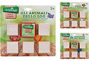 Globo Toys Globo 37434 3 - Sellos de madera (5 piezas) , Modelos/colores Surtidos, 1 Unidad