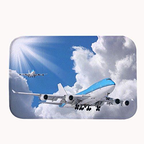 Rioengnakg Blue Air Flugzeug Badteppich Coral Fleece Bereich Teppich Fußmatte Eingang Teppich Fußmatten für Vorderseite Außen Türen Eintrag Teppich, Korallenvlies, 20