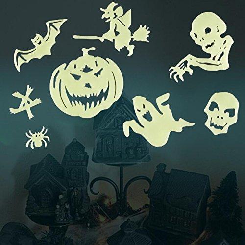 Kicode 8Pcs / Satz Karikatur Leuchtend Fluoreszierend Wandaufkleber Aufkleber Paste abnehmbar Halloween Requisiten Dekoration Haus Haus (Yard Halloween Dekorationen)