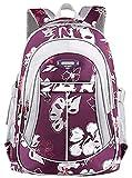 Freitop Schulrucksack mit Blumen Muster ab 4 Jahre Lila Schulranzen Rucksack Kindergartenrucksack Schultasche Groß Klein für 1-6 Klasse Kinder Mädchen Jungen Teenager Schüler Grundschule