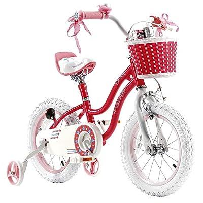 RoyalBaby Star Girl, Mädchenfahrrad, ab 3 - 6 Jahre, 12-14-16 Zoll, Kinderfahrrad für Mädchen mit Stützrädern und Parkstütze
