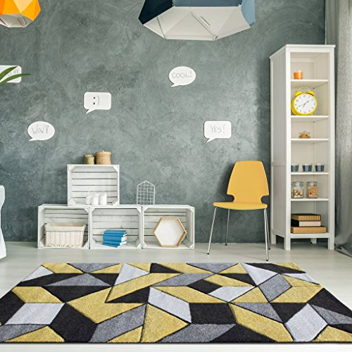 Rio Ochre Yellow Mustard Geometric Tiles Mosaic Modern Design Living Room Area Rug 120cm x 170cm
