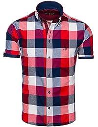 BOLF Herren Hemd Casual Kurzarm Shirt Slim Fit Freizeithemd Men 2B2 Motiv MIX