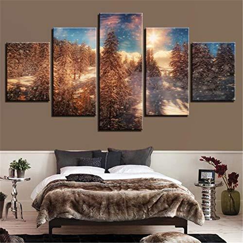 JUNDY HD Inkjet 5 Bann dekorative malerei abstrakt Wald Landschaft Hause küche Sofa Hintergrund wandmalerei ich 20x35cmx2 20x45cmx2 20x55cmx1