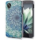 kwmobile Elegante y ligera funda Crystal Case Diseño flores ornamentales para LG Google Nexus 5 en azul verde transparente