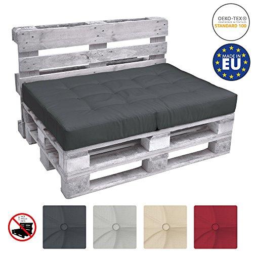 Beautissu ECO Elements Coussins pour Canape Euro Palette - Assise, Banquette - 120x80x15cm - Gris Graphite