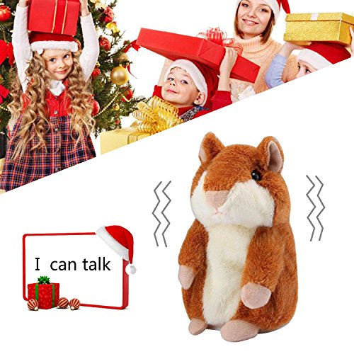 Hamster Sprechen Spielzeug (Pawaca Hamster Plüsch Toys, Reden Hamster Wiederholt Was Sie Sagen, Elektronische Haustier Reden Plüschtier Buddy Maus Interaktives Spielzeug für Kinder (Braun))