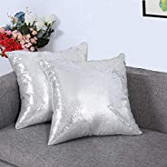 Eternal Beauty Set of 2 Sequin Decorative Pillow Cover Throw Pillow Covers for Couch Sofa Throw Pillows 18 X 1
