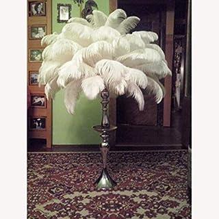 CUSHY Tige Dur Gros 20pcs / lot Blanc Plumes d'autruche Naturelle 15-60cm 6-24 & Quot; Anniversaire de Mariage Dã©Corations de Noã«l DIY: 45cm to50cm