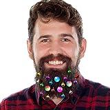 DecoTiny 20-teiliger leuchtender Bartschmuck, 16 klingende Jingle-Bells, 4 Bartlichter, Spielzeug-Bartschmuck, tolles Weihnachts- und Silvester-Geschenk