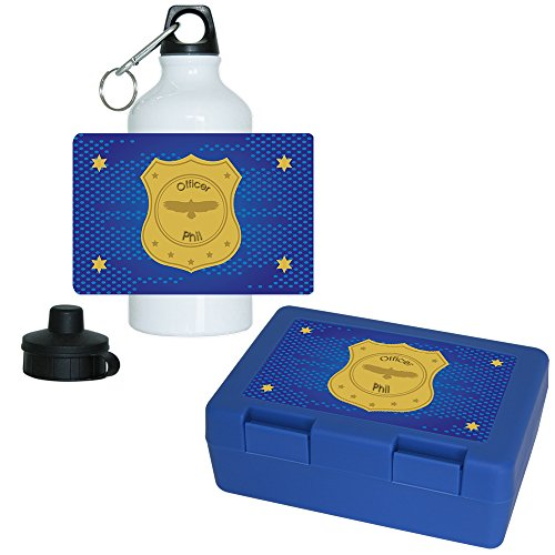 Brotdose + Trinkflasche Set mit Namen Phil und schönem Officer-Motiv mt Marke und Sternen für Jungen   Frühstücks-Set für Schule und Kindergarten   Aluminium-Trinkflasche   Lunchbox   Vesper-Box
