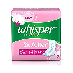 Whisper Ultra Soft Sanitary Pads - 15 Count Extra Large (XL)