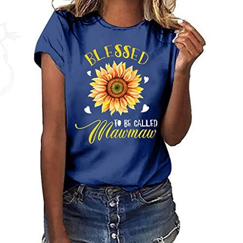 Kviklo Deman Plus Size T-Shirt Top Viele stilvolle Sonnenblumen Liebe Druck Kurzarm Summer Fashion Bluse(L(40),Marine-Große Blume)