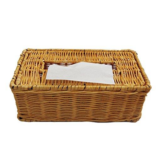 Rattan Boutique Kleenex Tissue Box Cover mit Deckel für Home Dekoration–Gelb