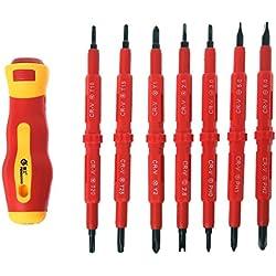 Kuangkk 8-teiliges Mehrzweck-Schraubendreher-Set für Elektriker, isoliert