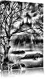 Monocrome, Düstere Burg, Format: 120x80 auf Leinwand, XXL riesige Bilder fertig gerahmt mit Keilrahmen, Kunstdruck auf Wandbild mit Rahmen, günstiger als Gemälde oder Ölbild, kein Poster oder Plakat
